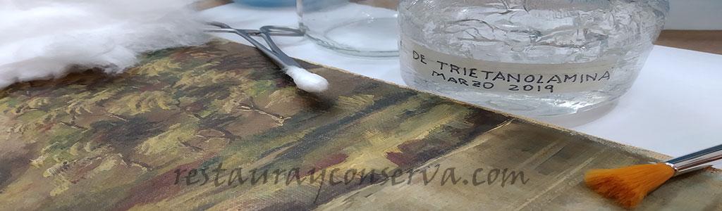 Limpieza de óleo con gel de trietanolamina - restaurayconserva.com